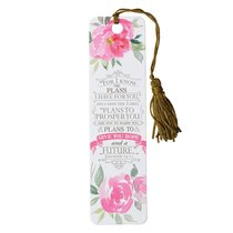 Bookmark With Tassel: For I Know the Plans I Have For You, Floral