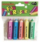 Eraser Pack:5 Hexagon Pencil Shape Erasers, Jesus Loves Me