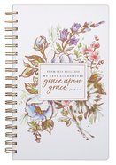 Wirebound Journal: Grace Upon Grace, Floral/White