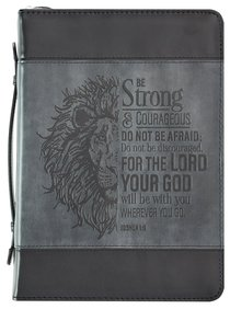 Bible Cover Large Classic, Be Strong & Courageous, Grey/Black Luxleather (Joshua 1:9)