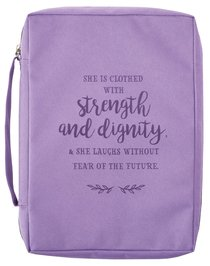 Bible Cover Poly Canvas Large: Strength & Dignity, Purple, Carry Handle