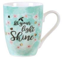Ceramic Sparkle Mug: Let Your Light Shine...Light Blue/Floral Wreath