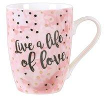 Ceramic Sparkle Mug: Live a Life of Love (Pink/white)
