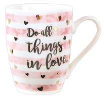 Ceramic Sparkle Mug: Do All Things in Love....Stripes/Hearts