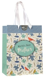 Gift Bag Medium: Worlds Best Mother (Turquoise/white/floral)
