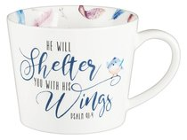 Ceramic Mug: He Will Shelter You, Coloured Feathers/White