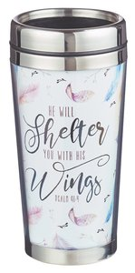 Polymer Tumbler W/Design Insert: He Will Shelter You With His Wings, Psalm 91:4