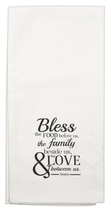 Tea Towel: Bless the Food Before Us....., White/Black