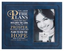 Photo Frame: For I Know the Plans I Have For You, Navy Luxleather