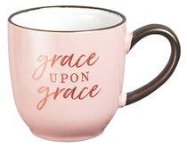 Ceramic Mug: Grace Upon Grace, Pink/White