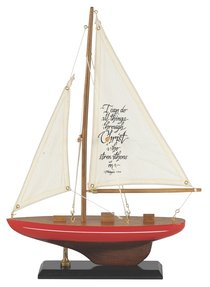 Sailboat Wood/Fabric: I Can Do All Things (Red & White Stripe)