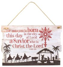 Christmas Mdf Plaque: Rustic Country (Luke 2:11)
