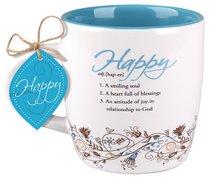Ceramic Mug Creative Definition: Happy, Bright Blue/White (Psalm 68:3)