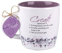 Ceramic Mug Creative Definition: Create, Purple/White (Matthew 12:35)