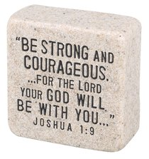 Cast Stone Plaque: Strength Scripture Stone, Cream (Joshua 1:9)
