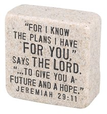 Cast Stone Plaque: His Plans Scripture Stone, Cream (Jeremiah 29:11)