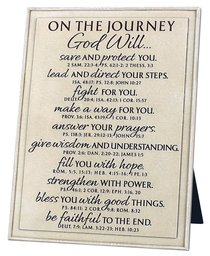 Plaque Cast Stone Word Study: Journey, Cream, Various Scriptures