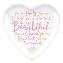 Ceramic Heart-Shaped Tray: You Are Beautiful, White/Pink (Various Scriptures)