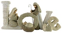 Resin Knitted Finish White/Beige Holy Family: Love
