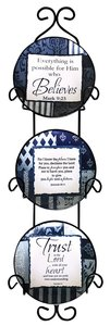 Ceramic Plate Set of 3 Incl. Plastic Rack: Trust in the Lord; Everything is Possible For Him Who Believe; Olord You Are My God, Blue/Light Blue/White Patterns