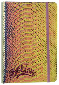 Faux Crocodile Journal: Iridescent Silver Pearl, Believe