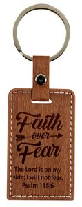 Leather Lux Keyring: Faith Over Fear, Psalm 118:6