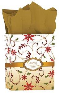 Christmas Gift Bag Medium: Red Swirl - Joy to the World (Luke 2:10)