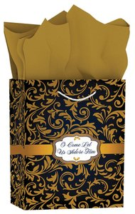 Christmas Gift Bag Medium: Blue & Gold - O Come Let Us Adore Him (Matthew 2:2)