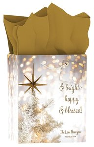 Christmas Gift Bag Medium: Merry & Bright - Happy & Blessed (Bokeh)