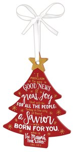 Christmas Mdf Tree Ornament: Christmas, Red With White Ribbon (Luke 2:10-11)