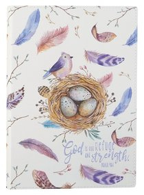 Journal: God is Our Refuge and Strength, Feathers, Bird Luxleather (Psalm 46:1)