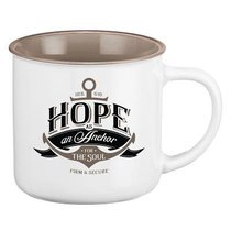 Camp Style Ceramic Mug: Hope as An Anchor For the Soul, White/Tan (Heb 6:19)