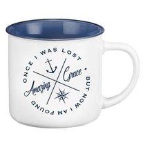 Camp Style Ceramic Mug: Amazing Grace, White/Blue