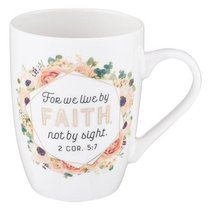Ceramic Mug: For We Live By Faith, Not By Sight, Apricot Floral Bouquet (2 Cor 5:7)