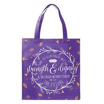 Tote Bag: She is Clothed With Strength & Dignity....Purple/White/Orange