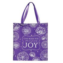 Tote Bag: God Bless You With Every Kind of Joy, Purple/White