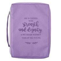 Bible Cover Poly Canvas Medium: Strength & Dignity, Purple, Carry Handle