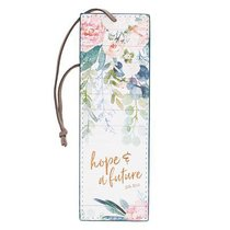 Bookmark Luxleather: Hope & a Future, Floral/Brown Cord Tassel (Jer 29:11)