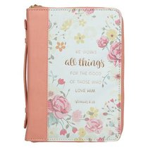 Bible Cover Trendy Medium, He Works All Things For the Good....Peach/Floral Luxleather (Romans 8:28)