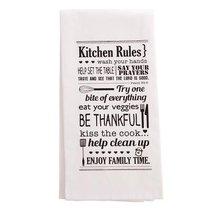 Tea Towel: Kitchen Rules, White/Black