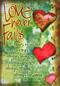 Poster Large: Love Never Fails (Hearts)