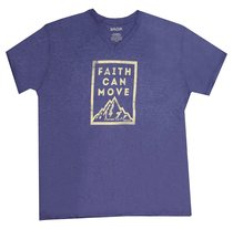 Mens V-Neck T-Shirt: Faith Can Move.. Large Blue (Matthew 17:20)