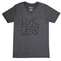 Mens V-Neck T-Shirt: Live Fear Less 2xlarge Grey (Romans 8:31)