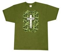 T-Shirt Military Cross: Large Khaki/Silver/Black (Psalm 27:3)