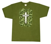 T-Shirt Military Cross:3xlarge Khaki/Silver/Black (Psalm 27:3)