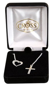 Necklace: Silver Plated Heart With Cross Lariet on 45Cm Silver Plated Chain