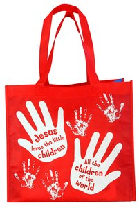 Reusable Shopping Bag: Jesus Loves the Little Children (Red With Blue Sides)