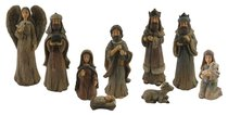 Resin Wood Look Nativity (Set Of 9)