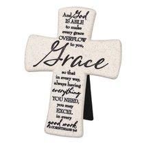 Cast Stone Desktop Cross: Scripture Grace (2 Cor 9:8)