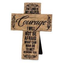 Cross Cast Stone Wood Grain: Courage (Hebrews 13:6)
